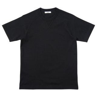 30/2度詰天竺 ガゼットラグランTシャツ-ブラック【東京製】*ヴィンテージ仕様