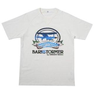 BARNSTORMER×永井博氏×B コラボTシャツ-ナチュラルホワイト【東京製】*ヴィンテージ仕様