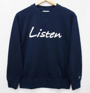 Listenスウェット トレーナー-ネイビー【国産・日本製】無地/裏毛/ガゼット付/メンズ