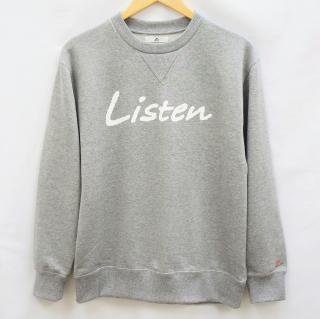 Listen トレーナー-グレー【国産・日本製】無地/裏毛/綿100%/ガゼット付/メンズ