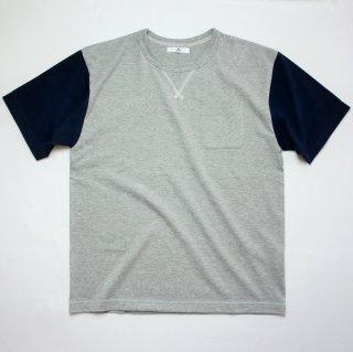 BバイカラーポケットTシャツ【国産・日本製】綿100%/無地/ガゼット付き/グレーXネイビー/メンズ《送料無料》