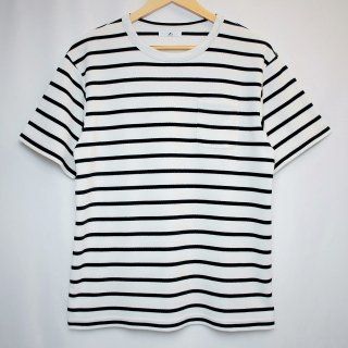 BボーダーポケットTシャツ【国産・日本製】綿100%/無地/厚手/ホワイト×ブラック/メンズ
