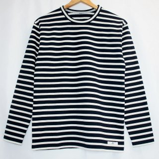 B長袖ボーダーTシャツ【国産・日本製】綿100%/無地/超厚手/裏起毛/ネイビー×オフホワイト/メンズ