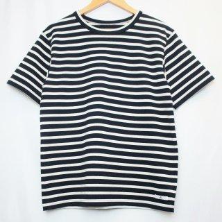 BボーダーTシャツ【国産・日本製】綿100%/無地/超厚手/裏起毛/ネイビー×オフホワイト/メンズ