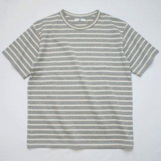 BボーダーポケットTシャツ【国産・日本製】綿100%/無地/厚手/グレー×オフホワイト/メンズ