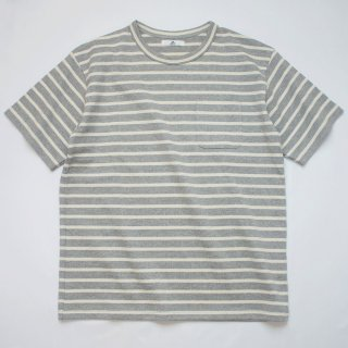 BボーダーポケットTシャツ【国産・日本製】綿100%/無地/厚手/グレー×オフホワイト/メンズ《送料無料》