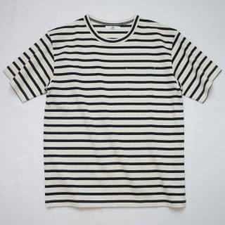 BボーダーポケットTシャツ【国産・日本製】綿100%/無地/オフホワイト×ネイビー/メンズ