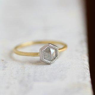 ローズカット・ダイヤモンドリング 〈ヘキサゴン・グレー〉