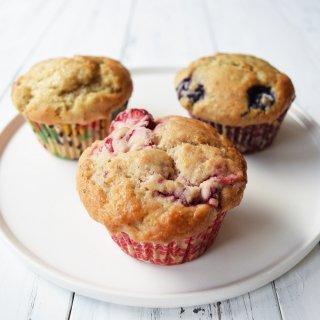 【冷凍】朝食用マフィン バナナ・いちご・ブルーベリー 12個セット ヴィーガン&グルテンフリーの商品画像