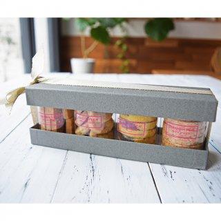 円筒ケースクッキー4種 ギフトBOX入り(チョコチップ、アールグレイ、マキベリー&ビーツマーブル、ブラックカカオ&ターメリックマーブル)