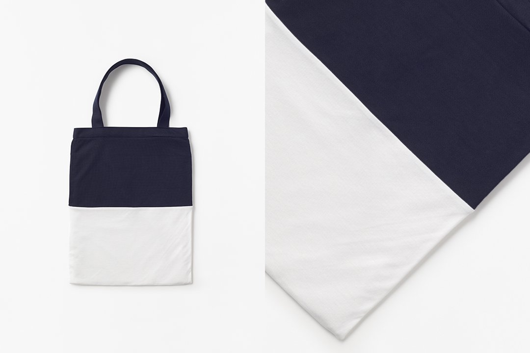 A3 bi-color tote bag -dark navy×white