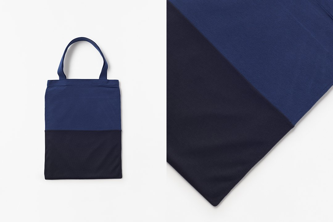 A3 bi-color tote bag -navy×dark navy