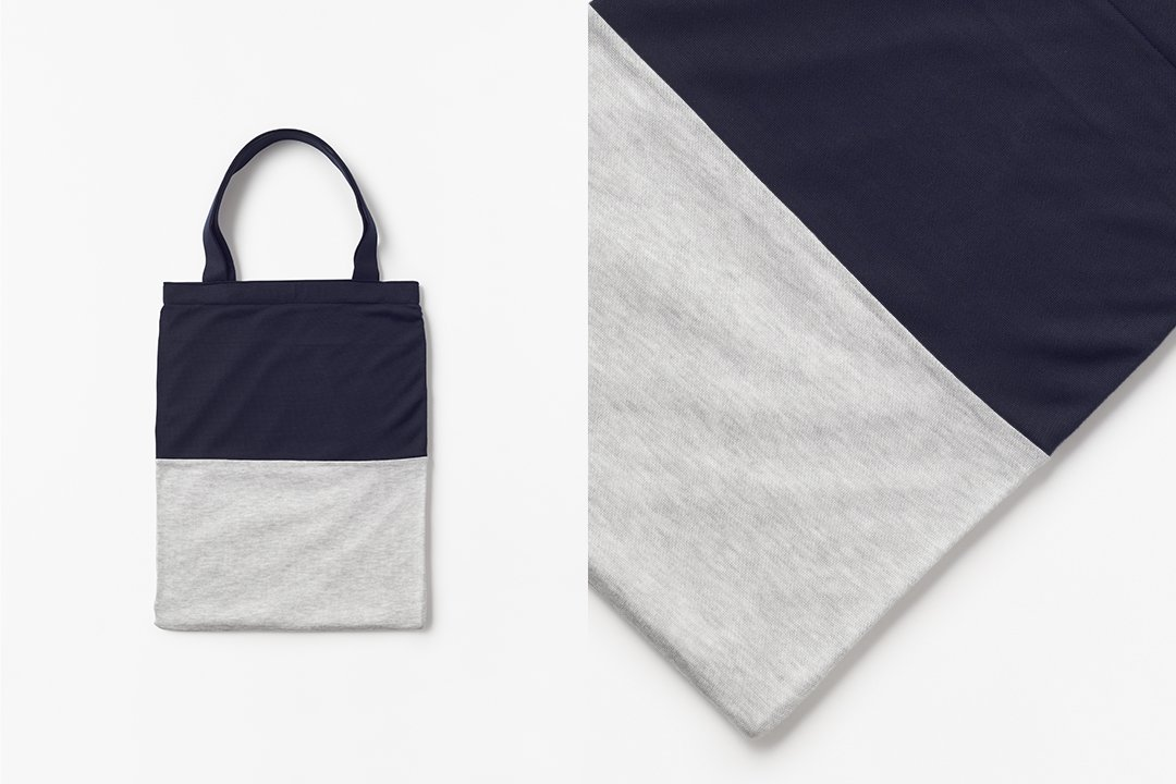 A3 bi-color tote bag -dark navy×gray