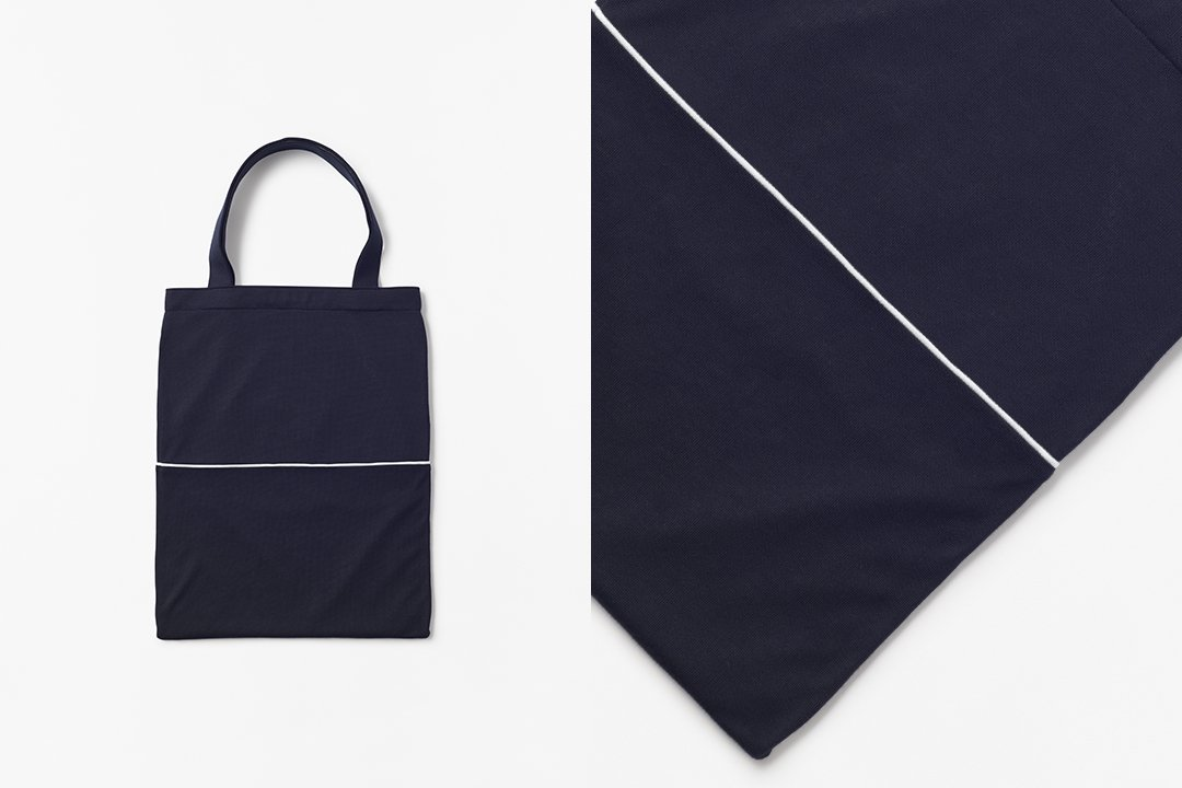 A3 bi-color tote bag -dark navy×dark navy