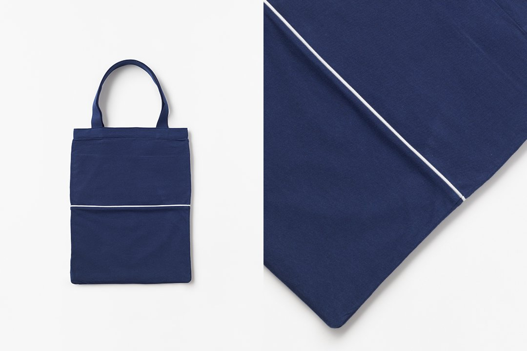 A3 bi-color tote bag -navy×navy