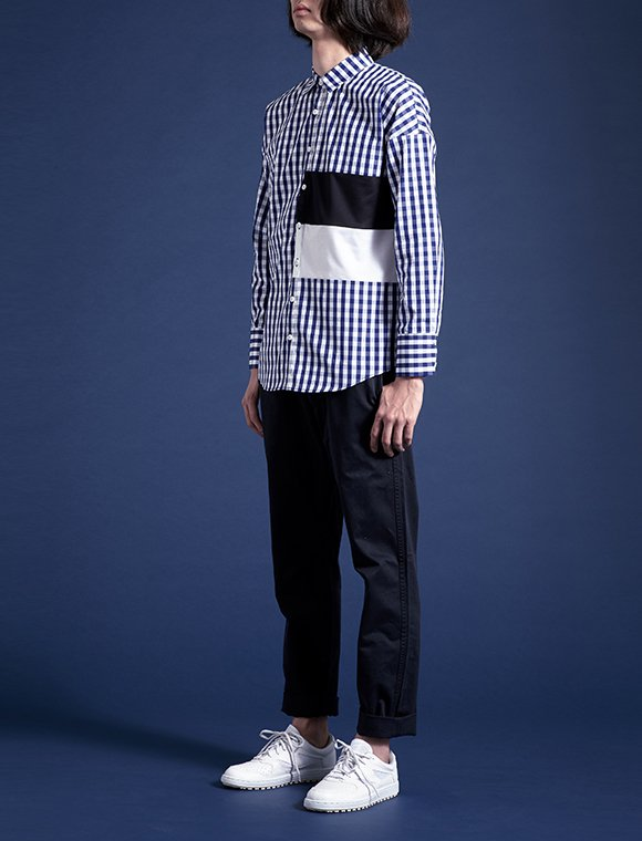 2color panel shirt -gingham