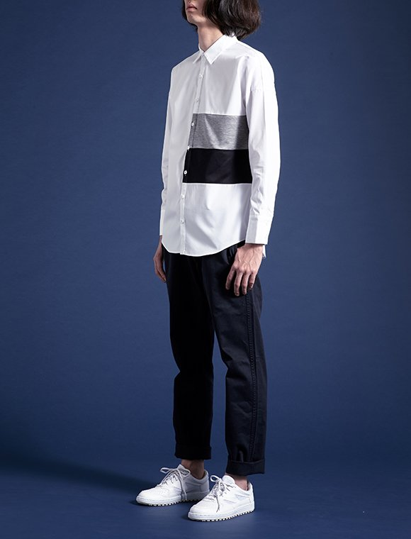 【40%off Sale】2 color panel shirt -white