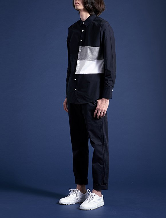 2color panel shirt -navy