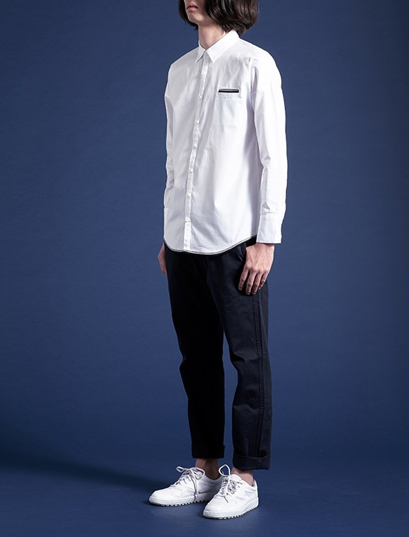 2color linear shirt -white