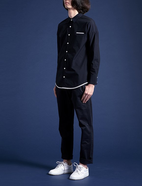 2color linear shirt -navy