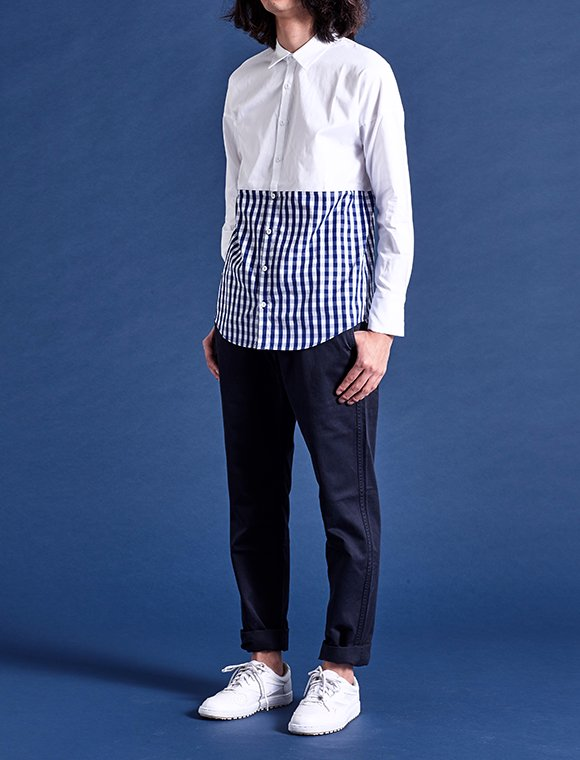 【Sale40%off】bi-color shirt -white+gingham