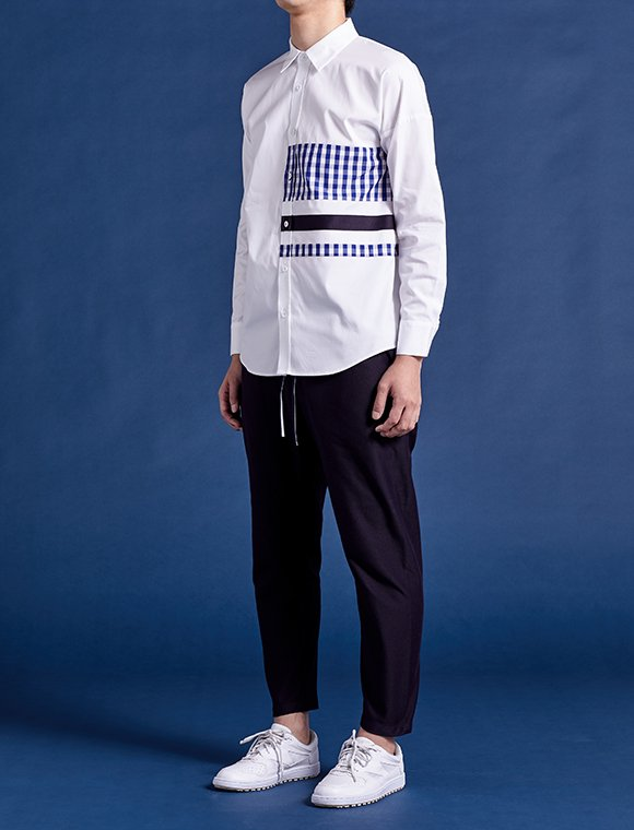 gingham-navy line shirt (1/2)