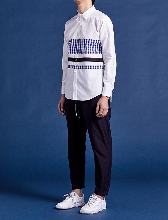 gingham-navy line shirt (all)