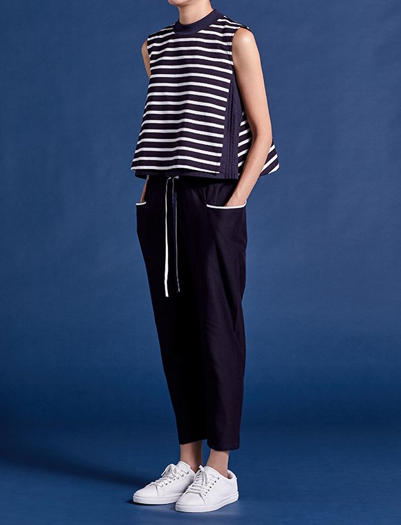 wrap tank top with pin-tucked lines -stripe