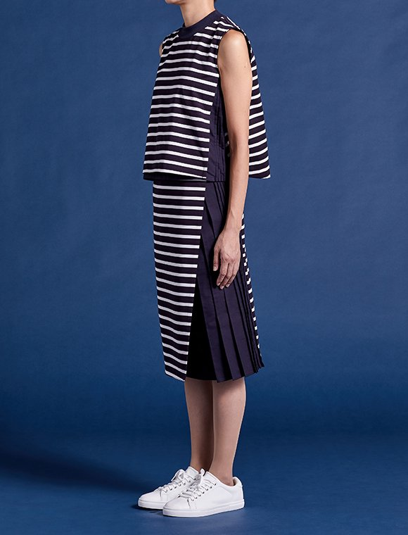 wrap skirt with 2pleats -stripe