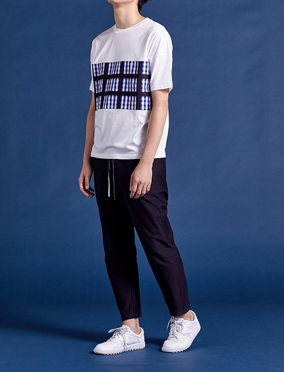 checked pattern layer T-shirt