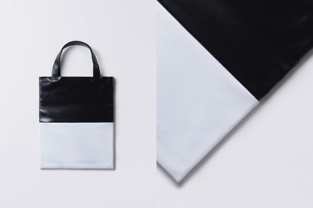 A3 tote bag < PVC leather >  black-white