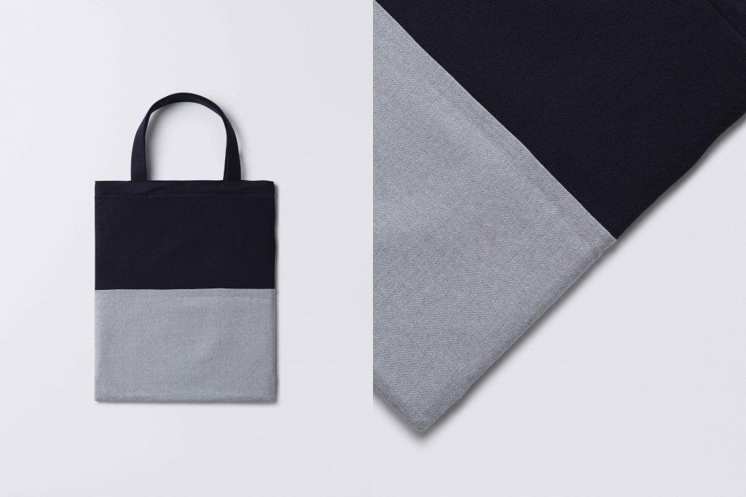 A3 bi-color tote bag     < wool > navy-gray