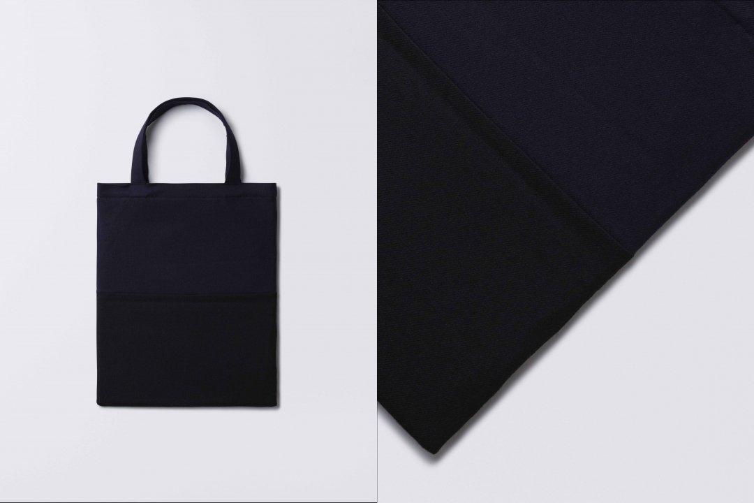 A3 bi-color tote bag < wool > navy-black