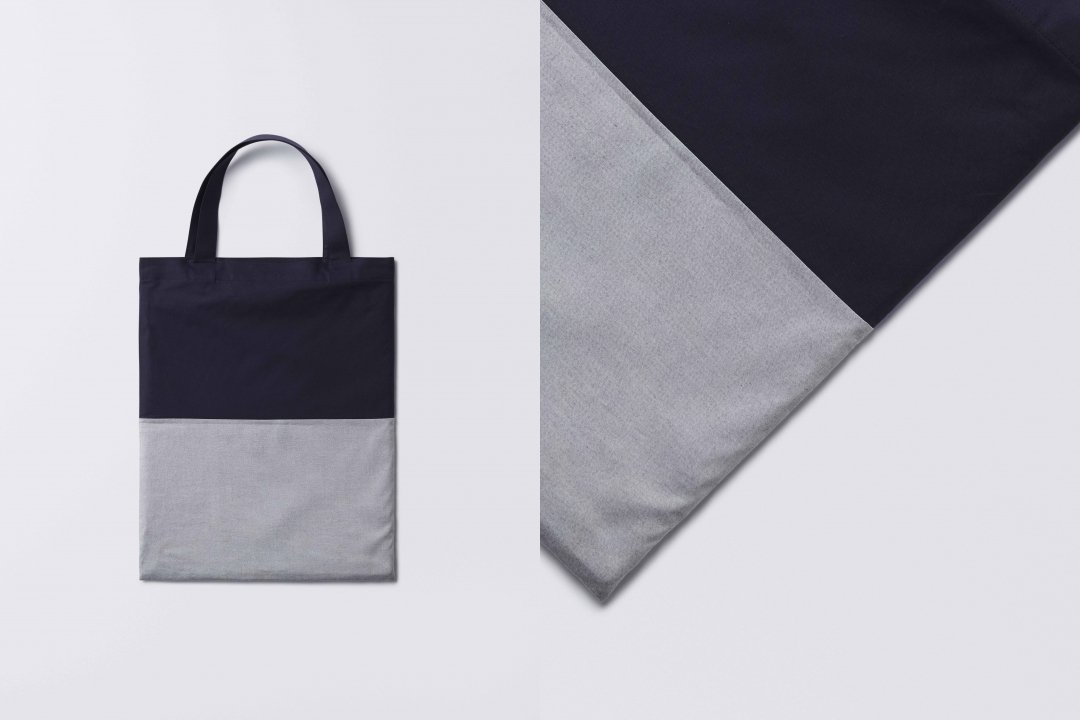A3 bi-color tote bag < cotton > navy-gray
