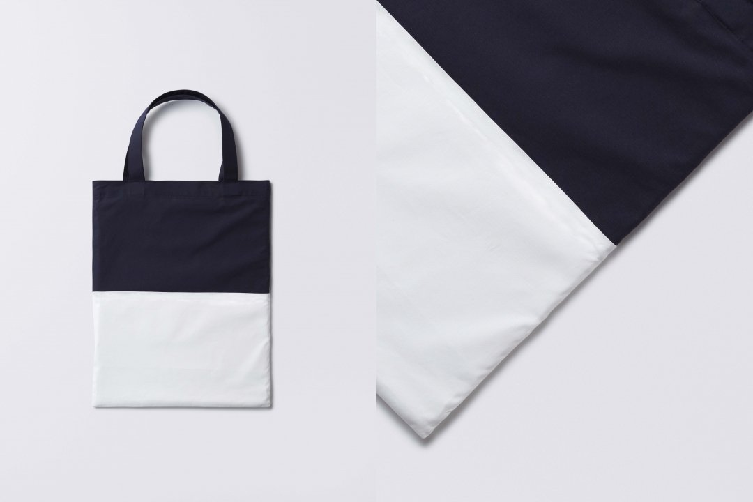 A3 bi-color tote bag < cotton > navy-white