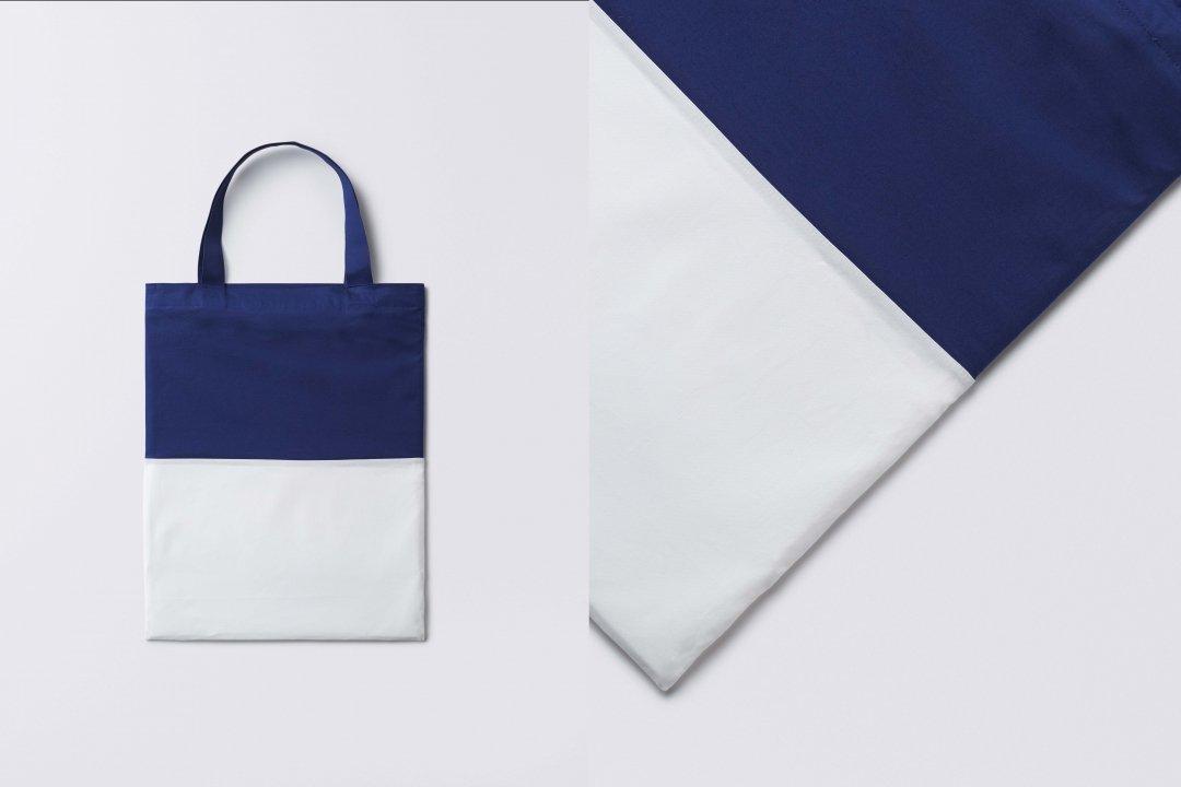 A3 bi-color tote bag < cotton > blue-white