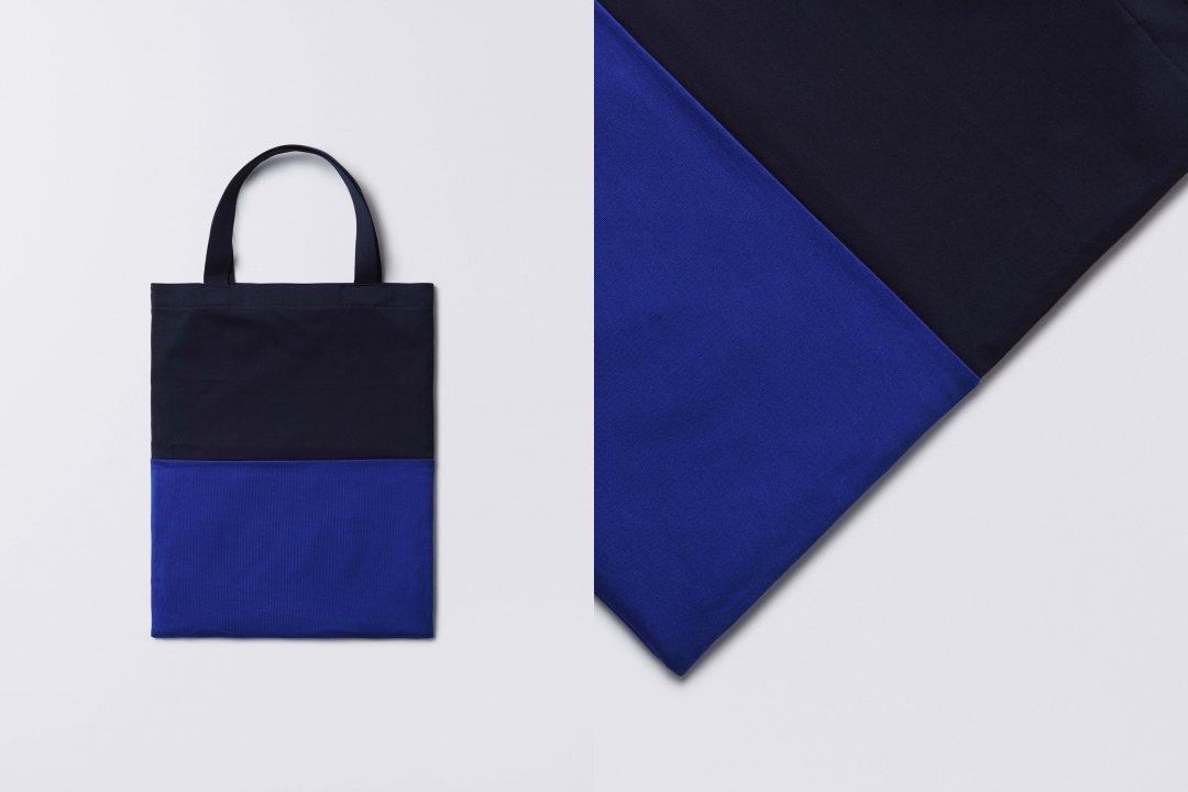 A3 bi-color tote bag < cotton jersey > navy-blue