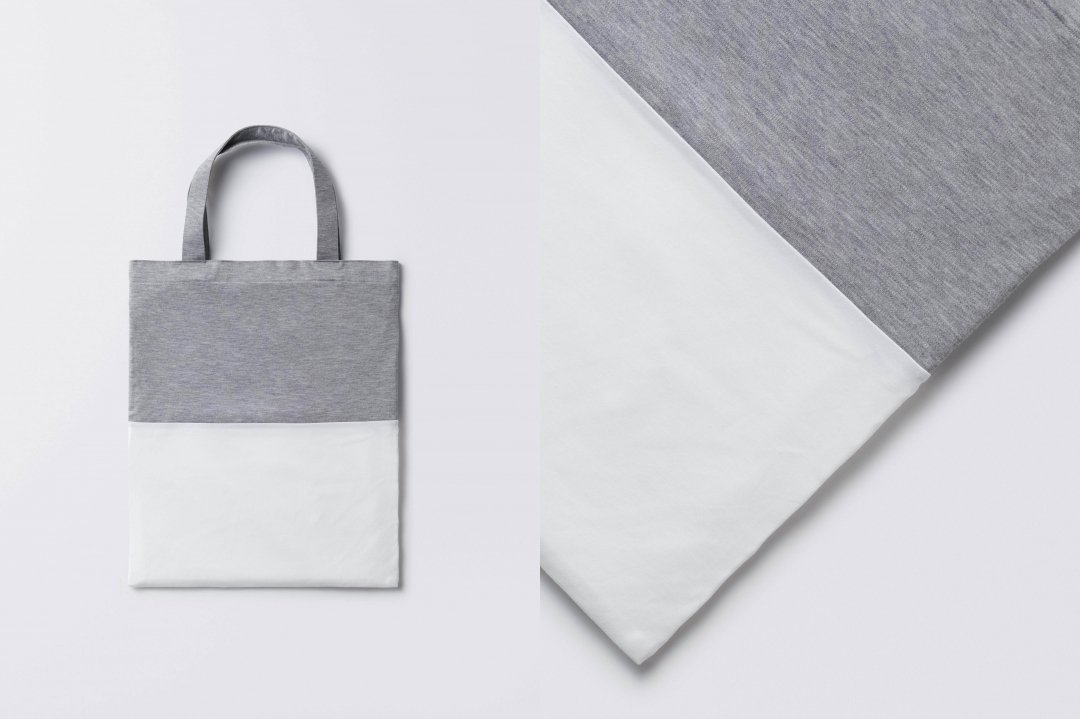 A3 bi-color tote bag < tencel > gray-white