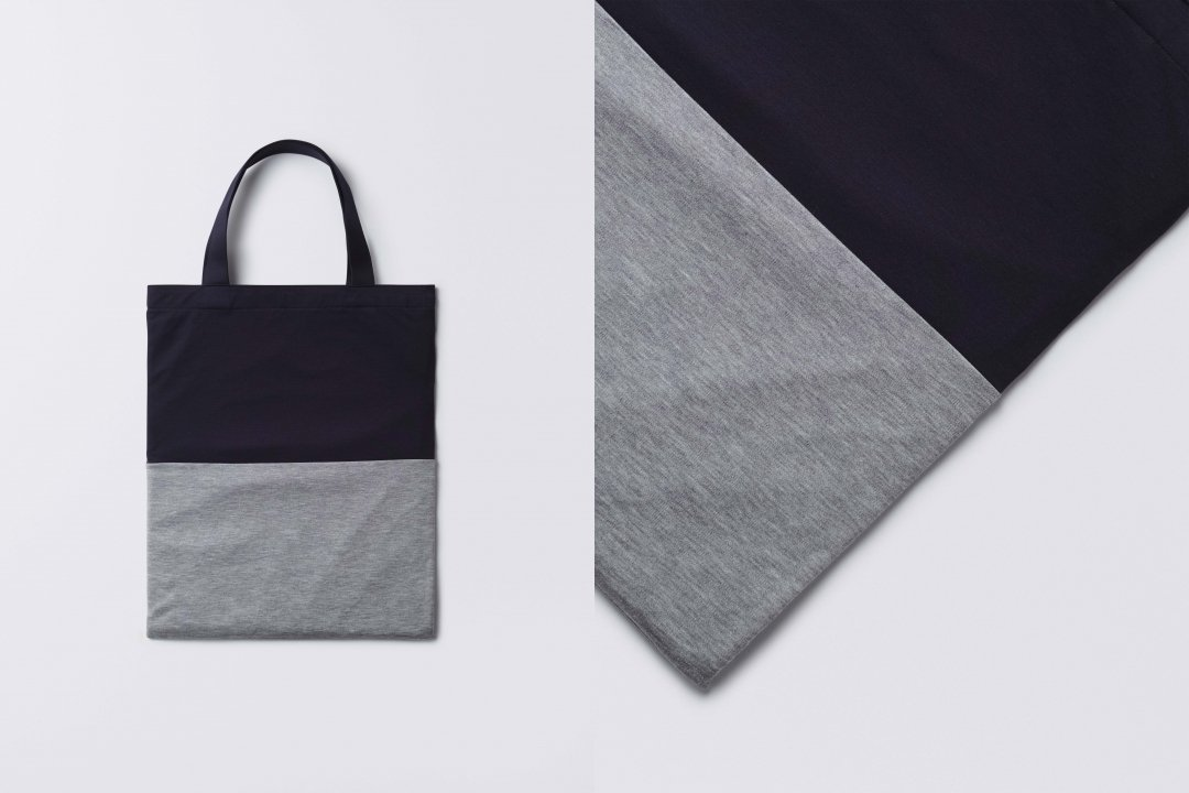 A3 bi-color tote bag < tencel > navy-gray