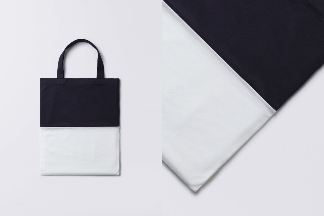 A3 bi-color tote bag < tencel > navy-white