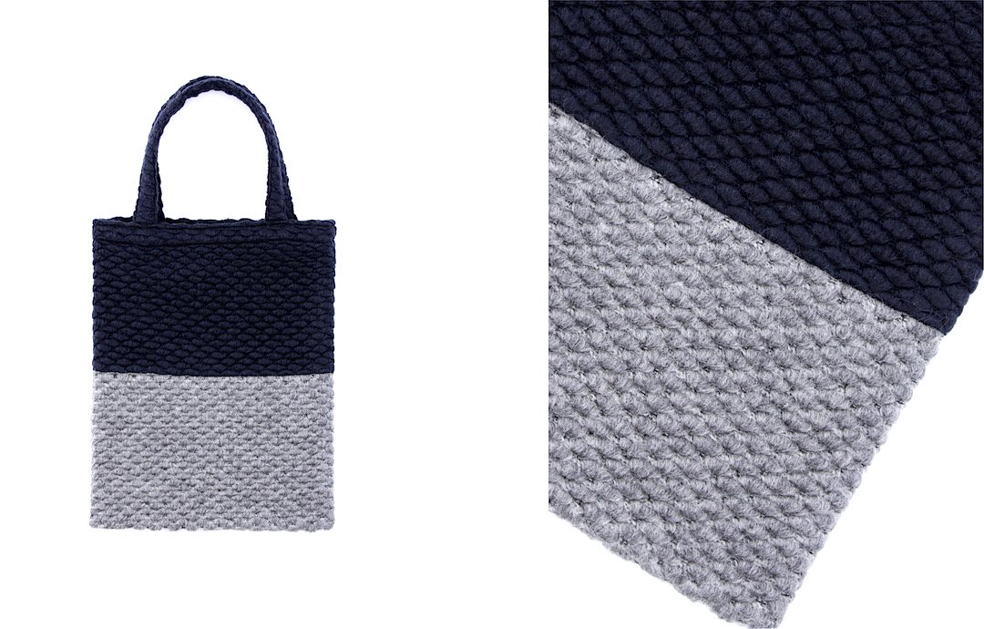 popcorn tote bag navy-gray