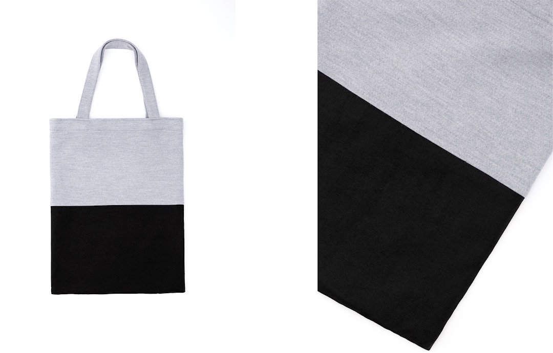 ray-smooth tote bag gray-black