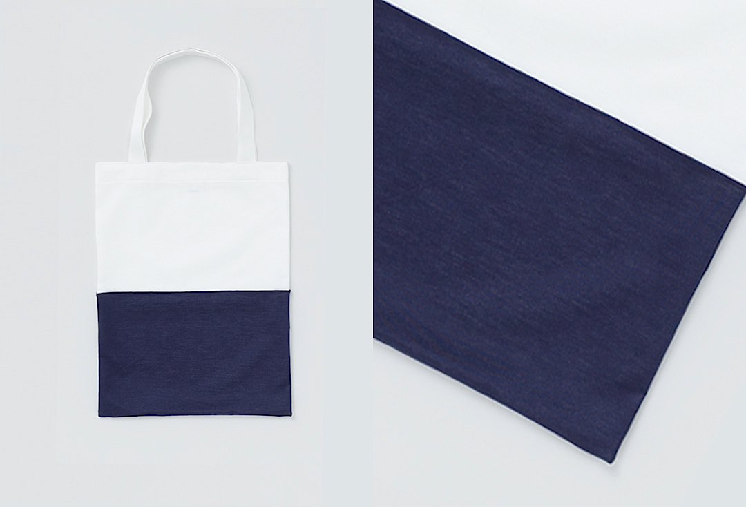 bi-color tote bag -white×navy