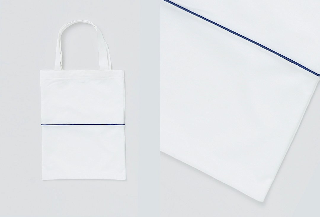 bi-color tote bag -white×white