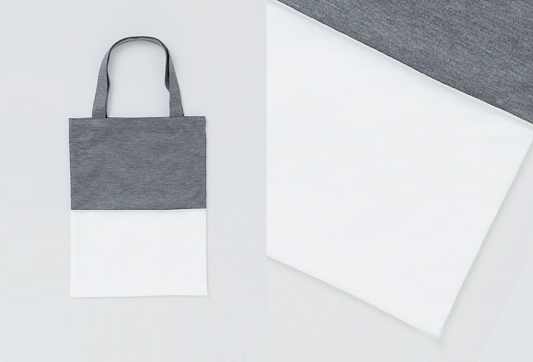 bi-color tote bag -gray×white