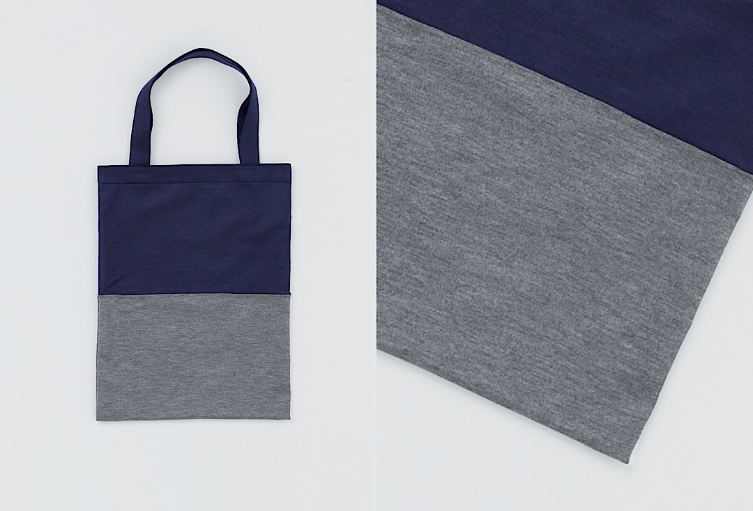 bi-color tote bag -navy×gray