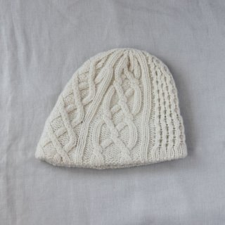 mature ha./slant cutting knit cap aran2 lamb(white)