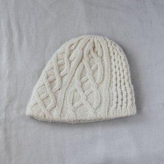 mature ha./slant cutting knit cap aran2 lamb(white)