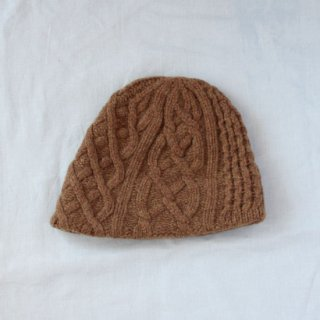 mature ha./slant cutting knit cap aran2 lamb(camel)