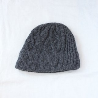 mature ha./slant cutting knit cap aran2 lamb(charcoal)